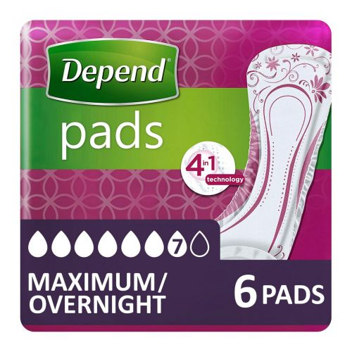 Depend Pads Maximum/Overnight (952ml) 6 Pack - mobile