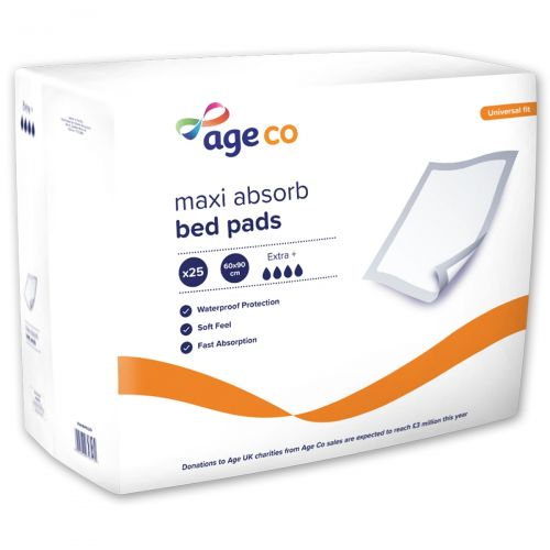 Age Co Maxi Absorb Disposable Bed Pads 60x90cm (2090ml) 25 Pack
