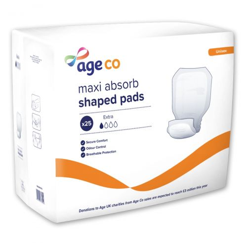 Age Co Maxi Absorb Shaped Pads Extra (1570ml) 25 Pack